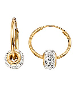 Crystal Glitz 9 Carat Gold Coloured Crystal Hoop Earrings