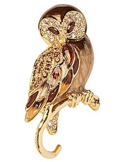 Crystal Owl Brooch