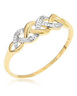 9 Carat Gold Diamond-Set Crossover Ring