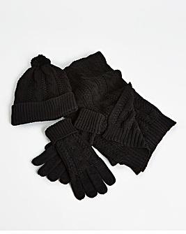 Black Hat Scarf Glove Set