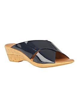 Lotus Tonia Patent Wedge Mule Sandals