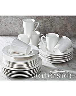 White Embossed Linear 24 Piece Dinner Set