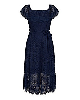 Yumi Curves Bardot Lace Dress With Tie Belt