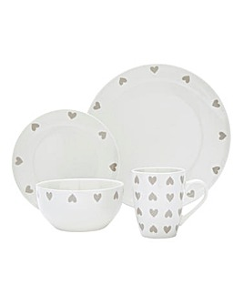 Hearts 16 Piece Dinner Set