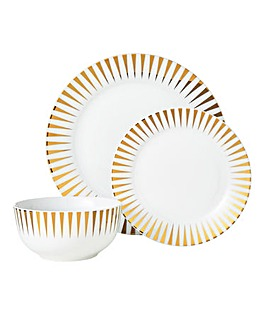 Metallic Gold 12 Piece Dinner Set