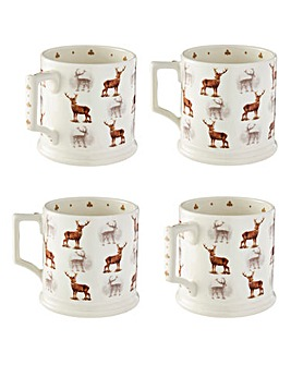 Glen Lodge Stag Set of 4 Tankard Mugs