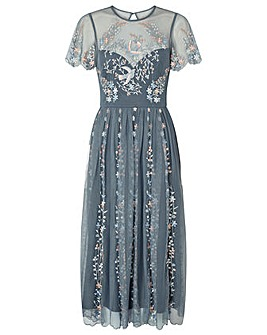 Monsoon Delilah Embroidered Midi Dress