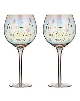 Set of 2 Gingle All The Way Gin Glass