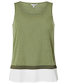 Monsoon Elaine Woven Trim Sleeveless Top