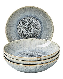 Denby Halo Grey Speckle 4 Piece Pasta Bowl Set