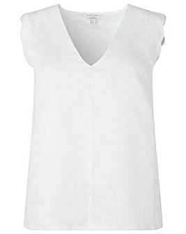 Monsoon Lotus Linen Scallop Tank Top