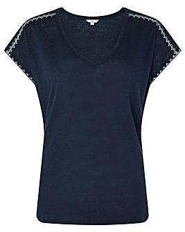 Monsoon Liza Stitch Detail Linen T-Shirt