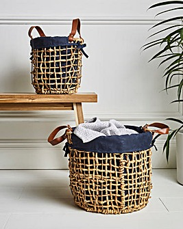 Set of 2 Rush Lined Baskets