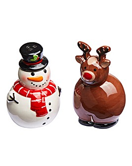 Snowman & Reindeer Salt and Pepper Set