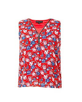Mela London Curve Floral Printed Zip Det