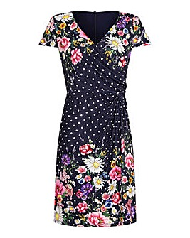 Yumi Curves Daisy Bouquet Mirrored Wrap Dress