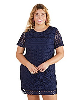 Yumi Curves Lace Tunic In Navy