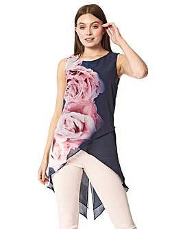 Roman Rose Floral Print Asymmetric Top