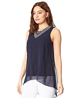 Roman Embellished Chiffon Vest Top