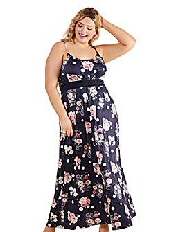 Yumi Curves Spot And Floral Maxi Dress