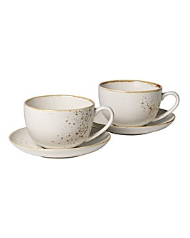 Vivo Stoneware 2 Coffee Cups and Saucers