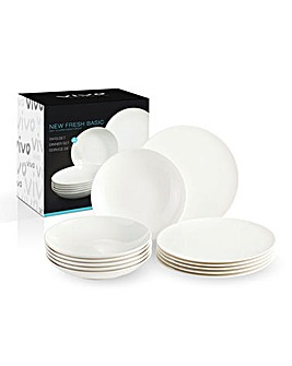 Vivo Fresh White 12 Piece Dinner Set