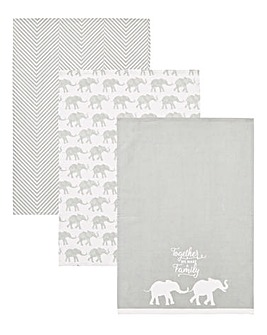 Elephant Family Printed Tea Towel Set