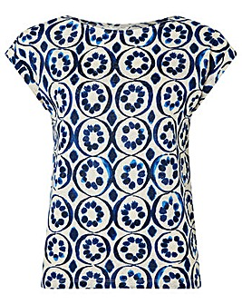 Monsoon Lourde Print Linen T-Shirt