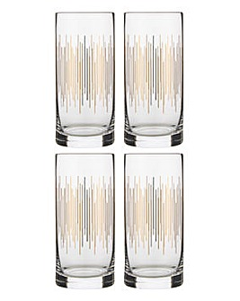 Set of 4 Deco Highball Glasses