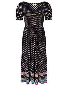 Monsoon Ashleigh Print Shirred Dress