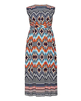 Mela London Curve Zip Detail Aztec Maxi Dress