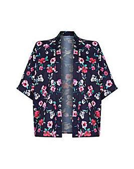 Yumi Curves Bird And Floral Print Kimono