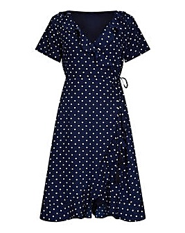 Yumi Curves Spot Print Wrap Dress