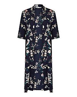 Yumi Curves Floral Print Long Kimono