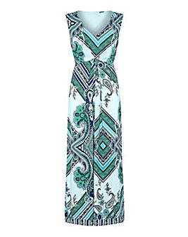 Yumi Curves Scarf Print Maxi Dress