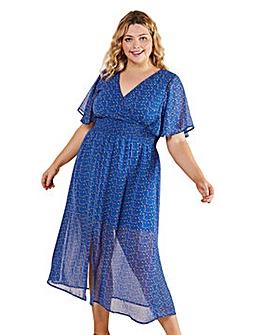 Yumi Curves Ditsy Print Ruched Maxi Dress
