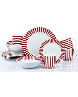 16 Piece Red Stripe Dinner Set