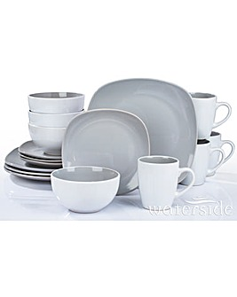 16 Piece Grey Nova Square Dinner Set