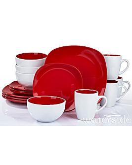 16 Piece Red Nova Square Dinner Set