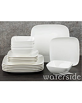 18 Piece White Hampton Square Dinner Set