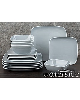 18 Piece Grey Hampton Square Dinner Set