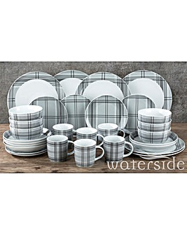 30 Piece Grey Tartan Dinner Set
