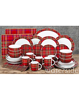 45 Piece Traditional Tartan Dinner Set