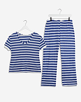 Pretty Secrets V Neck Stripe Pyjama Set