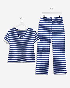 Pretty Secrets V Neck Stripe Pyjama Set