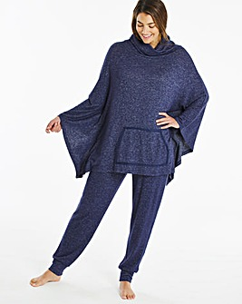 Pretty Lounge Knitted Poncho and Wide Leg Lounge Set