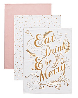 Be Merry Set of 3 Tea Towels
