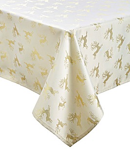 Gold and Cream Reindeer Tablecloth