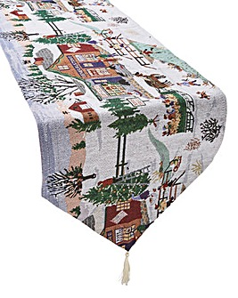 Winter Village Tapestry Runner