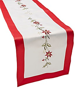 Poinsettia Embroidery Runner